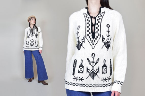 1960's Nautical Anchor Sweater | Vintage Kimlon Anchor Sweater