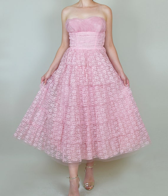 1950's Pink Lace Party Dress | 1950s Pink Lace Pr… - image 4