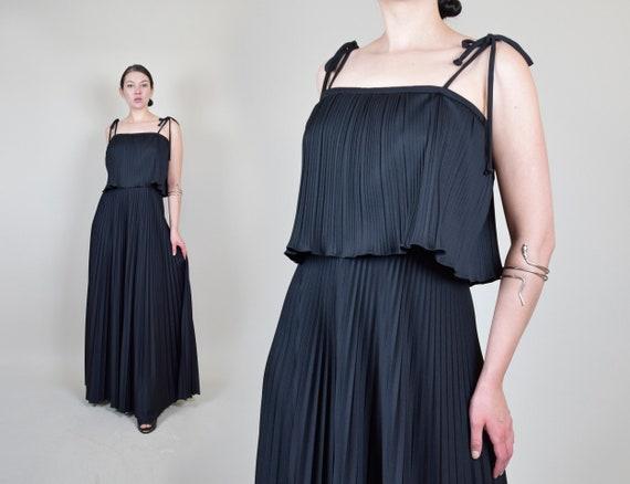 1970's Pleated Maxi Dress | 70s Black Tent Dress |