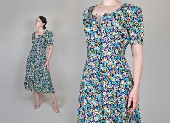 90's Dark Floral Midi Dress | 90s Grunge Floral Dr