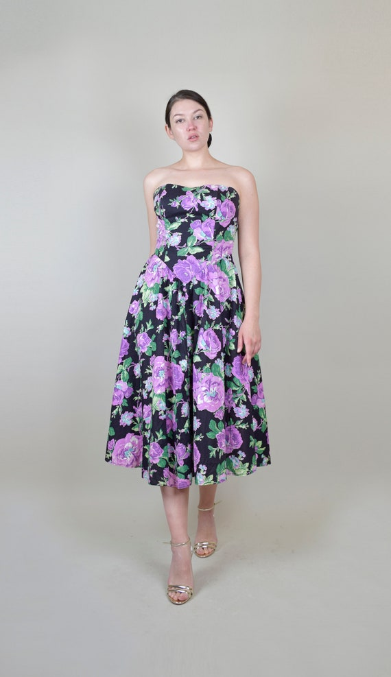 80's Rose Print Dress | 1980s Strapless Floral Dr… - image 9