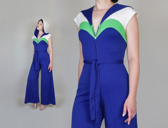 1970's Hooded Jumpsuit | 1970s Roller Disco Bellbo