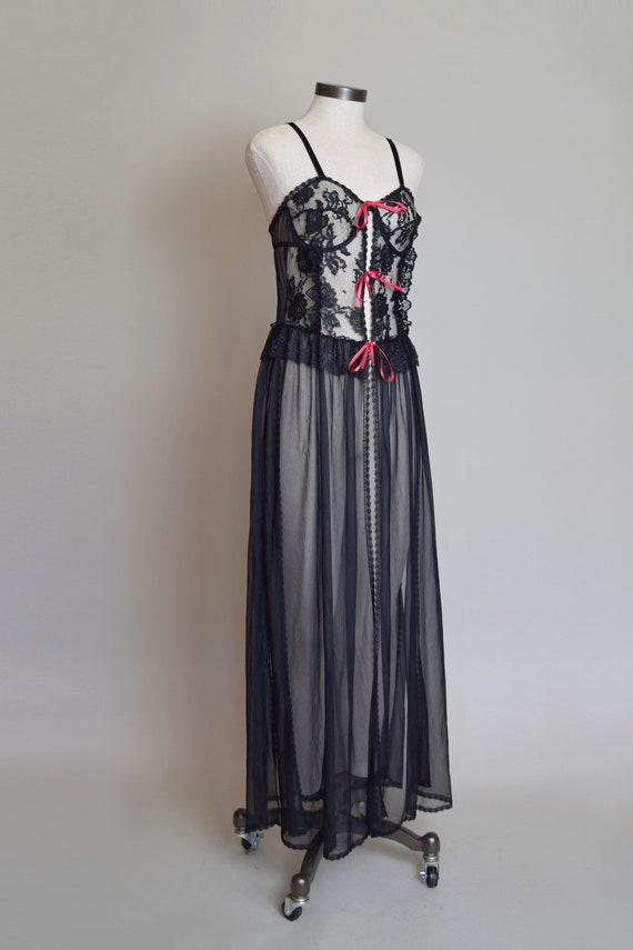 Vintage Black Lace Corset Negligee Robe   1980s L… - image 4
