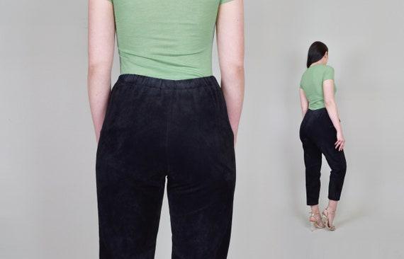 Suede Leather Pants | Vintage Elastic Waist Leath… - image 9