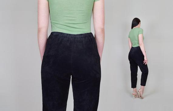 Suede Leather Cigarette Pants | Vintage Elastic W… - image 9