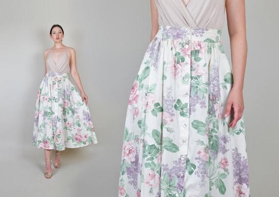 80's Pastel Floral Print Skirt | Lilac Rose Floral