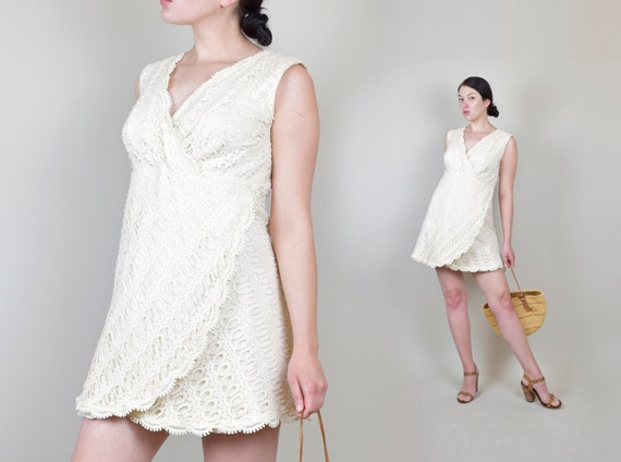 1960's Ivory Crochet Lace Mini Dress | 1960s Josep