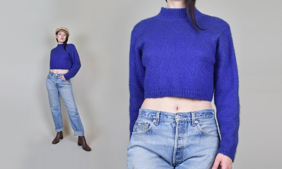 90's Mohair Cropped Sweater | Vintage Fuzzy Mohair