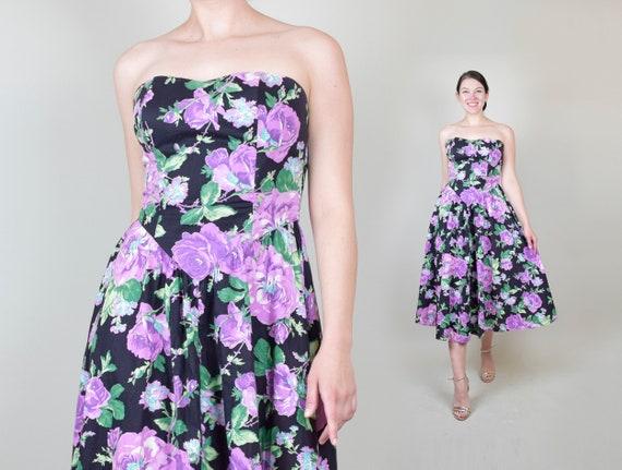 80's Rose Print Dress | 1980s Strapless Floral Dre