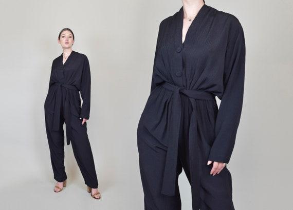 Vintage Batwing Jumpsuit | Avant Garde Jumpsuit | Italian Linen Jumpsuit
