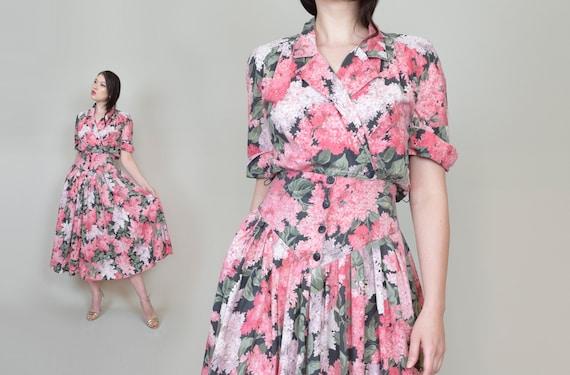 1980's Floral Print Shirt Dress | 1950's Style Flo