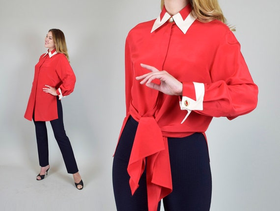 1950's Silk Tie Blouse | 1950s Wing Tip Blouse