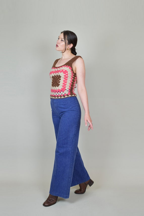 1970's Granny Square Vest | 1970's Crochet Knit V… - image 6