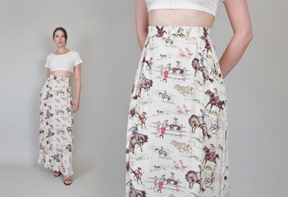 Vintage Cowboy Western Print Skirt   Vintage West… - image 1