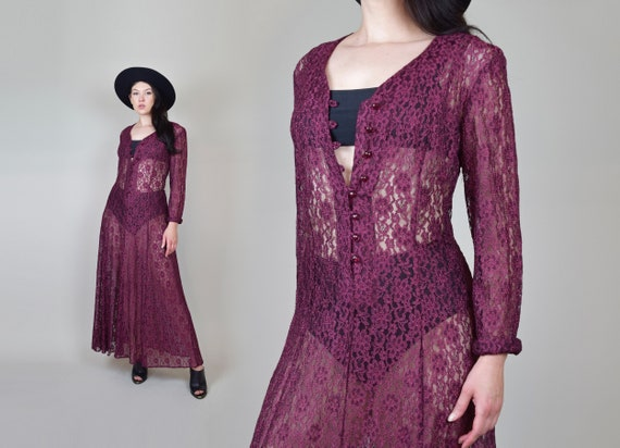 90's Witchy Lace Maxi Dress   90's Sheer Lace Maxi