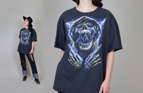 Vintage Skull Shirt | Graphic Biker Skull T Shirt
