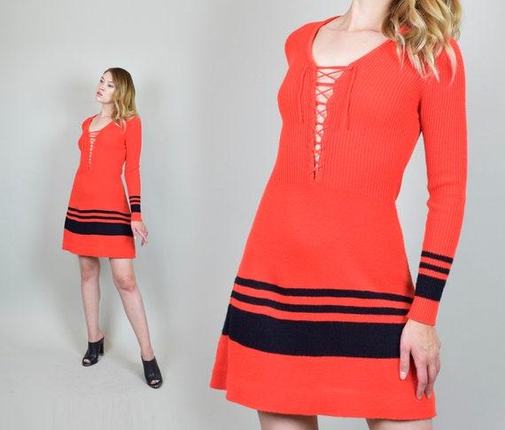1970's Lace Up Knit Sweater Dress - image 7