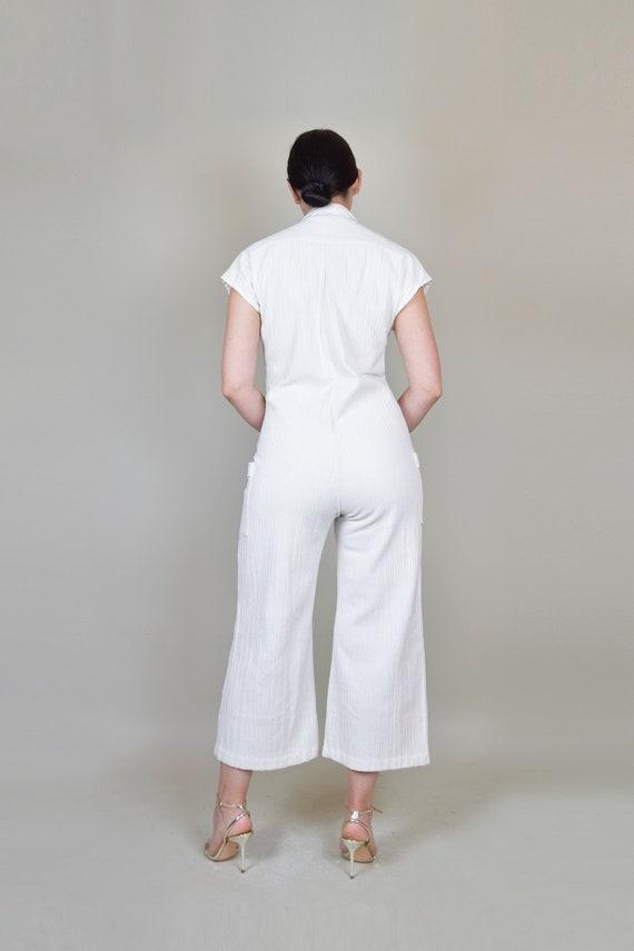 1970's White Gauze Linen Jumpsuit | 1970s Zip Up … - image 7