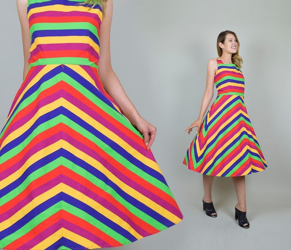 Vintage Rainbow Stripe Dress | Chevron Stripe Dres