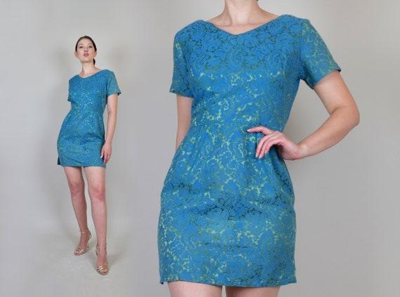 1960's Brocade Mini Dress | 1960's Metallic Brocade Dress | Jewel Tone Brocade