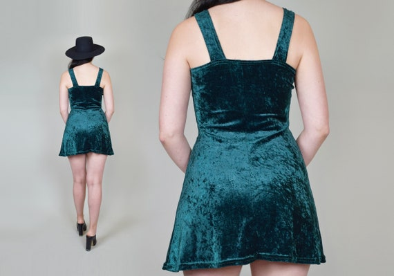 90's Emerald Green Velvet Skater Dress | Vintage … - image 10