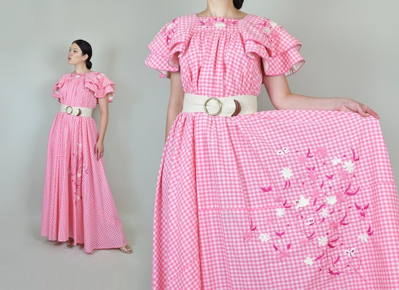 1950's Pink Gingham Ruffle Dress | Mexican Embroid