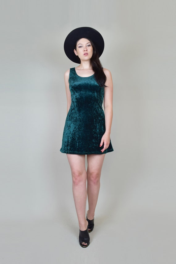 90's Emerald Green Velvet Skater Dress | Vintage … - image 2