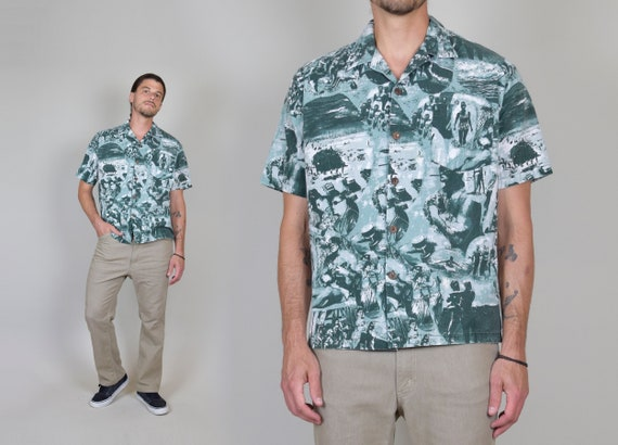 Vintage Photo Print Hawaiian Shirt | Vintage Photo Print Shirt