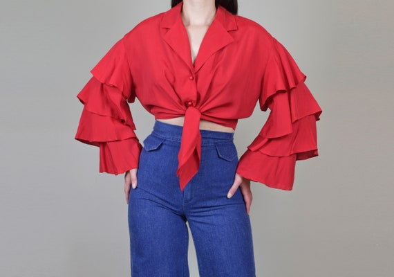 1970's Ruffle Sleeve Shirt | Vintage Ruffle Sleev… - image 7