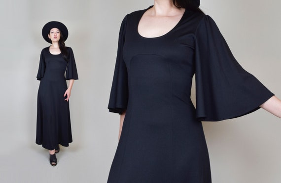 1970's Black Bat Wing Maxi Dress | 1970's Witchy B