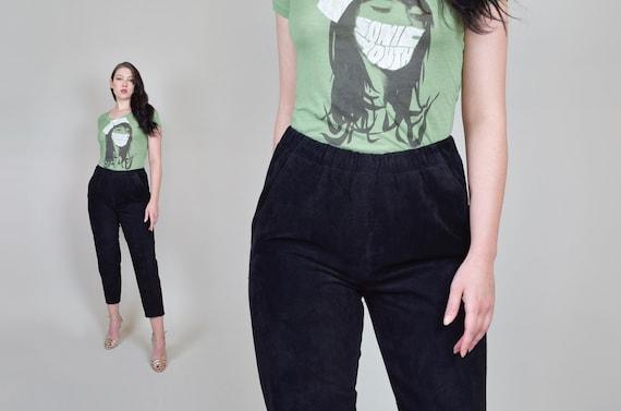 Suede Leather Pants | Vintage Elastic Waist Leath… - image 1