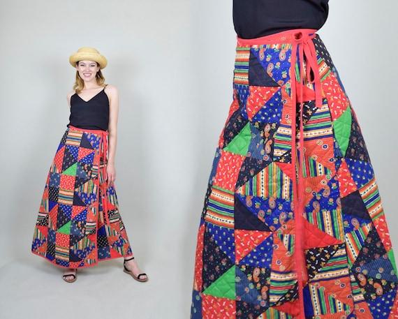 1970s Quilt Patchwork Skirt | Vintage Quilt Patchw