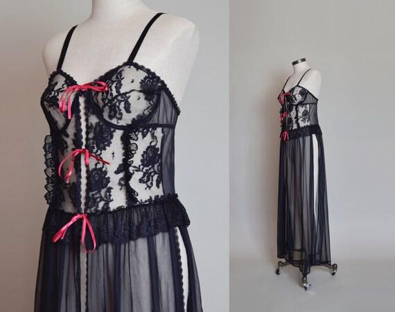 Vintage Black Lace Corset Negligee Robe   1980s L… - image 6