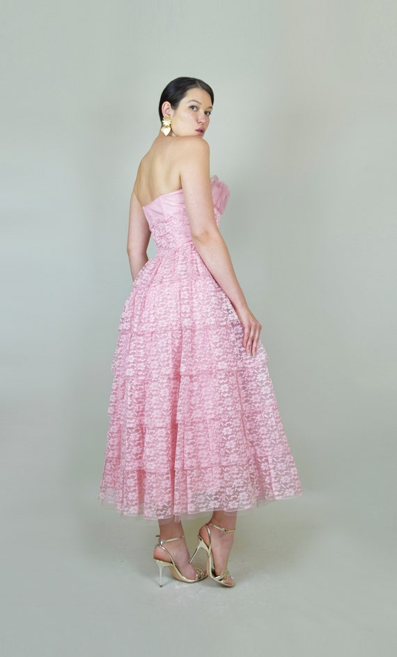 1950's Pink Lace Party Dress | 1950s Pink Lace Pr… - image 9