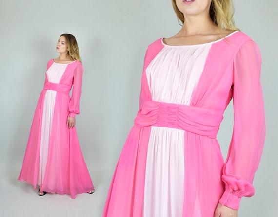 1960's Two Tone Maxi Dress | Vintage Pink Princess Dress