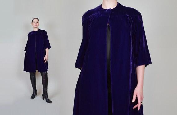 1930s Purple Velvet Coat | 1930s Silk Velvet Coat