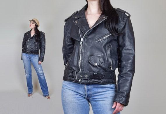 Vintage Leather Motorcycle Jacket | 80's Black Lea