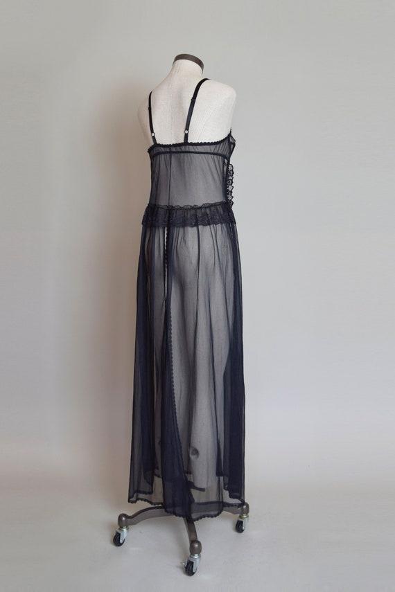 Vintage Black Lace Corset Negligee Robe   1980s L… - image 8