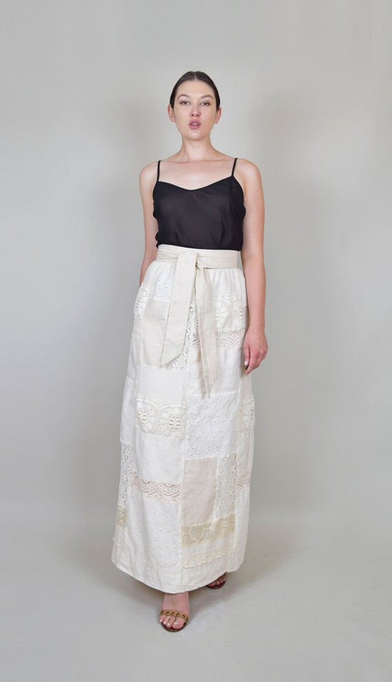 1970's Lace Patchwork Maxi Skirt | 70s Patchwork … - image 2