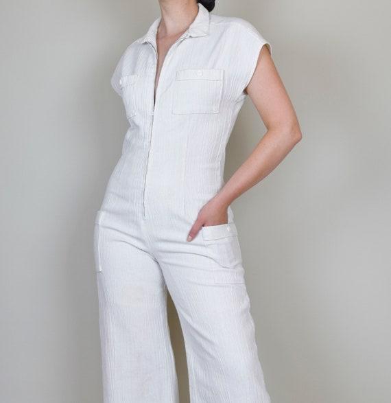 1970's White Gauze Linen Jumpsuit | 1970s Zip Up … - image 4