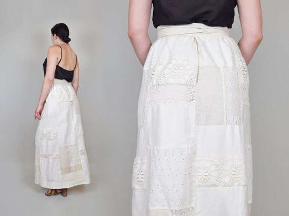1970's Lace Patchwork Maxi Skirt | 70s Patchwork … - image 5