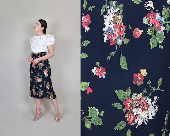 1940's Style Floral Skirt | Bias Cut Floral Skirt