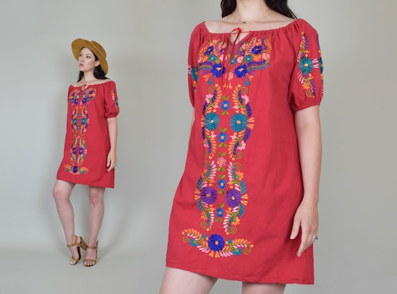 Vintage Embroidered Peasant Dress | Embroidered M… - image 7