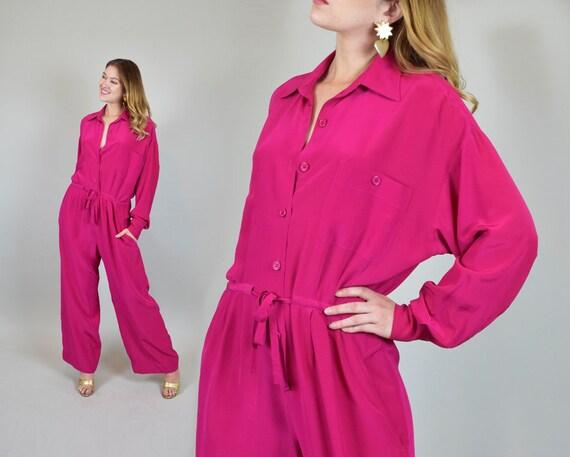 1980's Pink Silk Jumpsuit | Vintage Anne Klein Jum