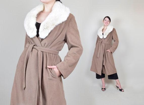 1950's Cashmere Wrap Coat | 1950's Fox Fur Collar