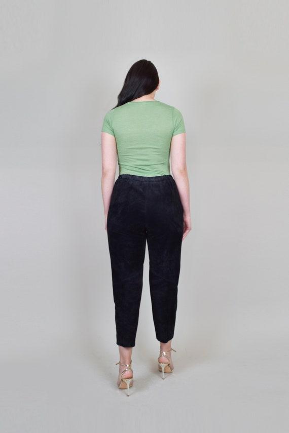 Suede Leather Cigarette Pants | Vintage Elastic W… - image 8