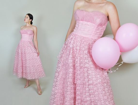1950's Pink Lace Party Dress | 1950s Pink Lace Pr… - image 1