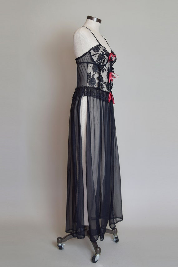 Vintage Black Lace Corset Negligee Robe   1980s L… - image 7