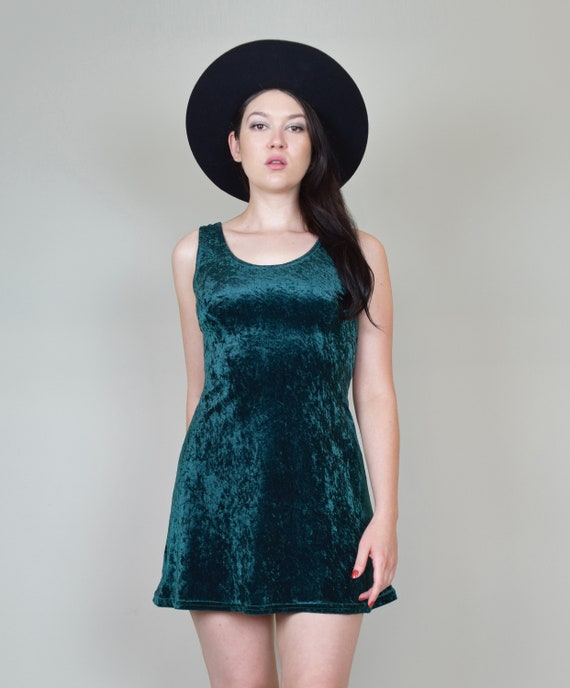 90's Emerald Green Velvet Skater Dress | Vintage … - image 3