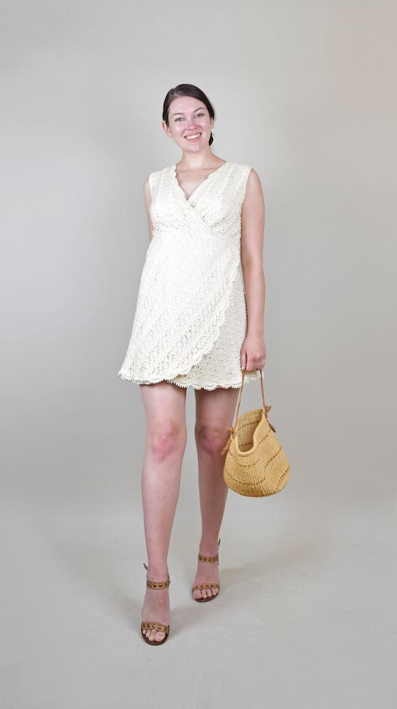 1960's Ivory Crochet Lace Mini Dress | 1960s Jose… - image 2